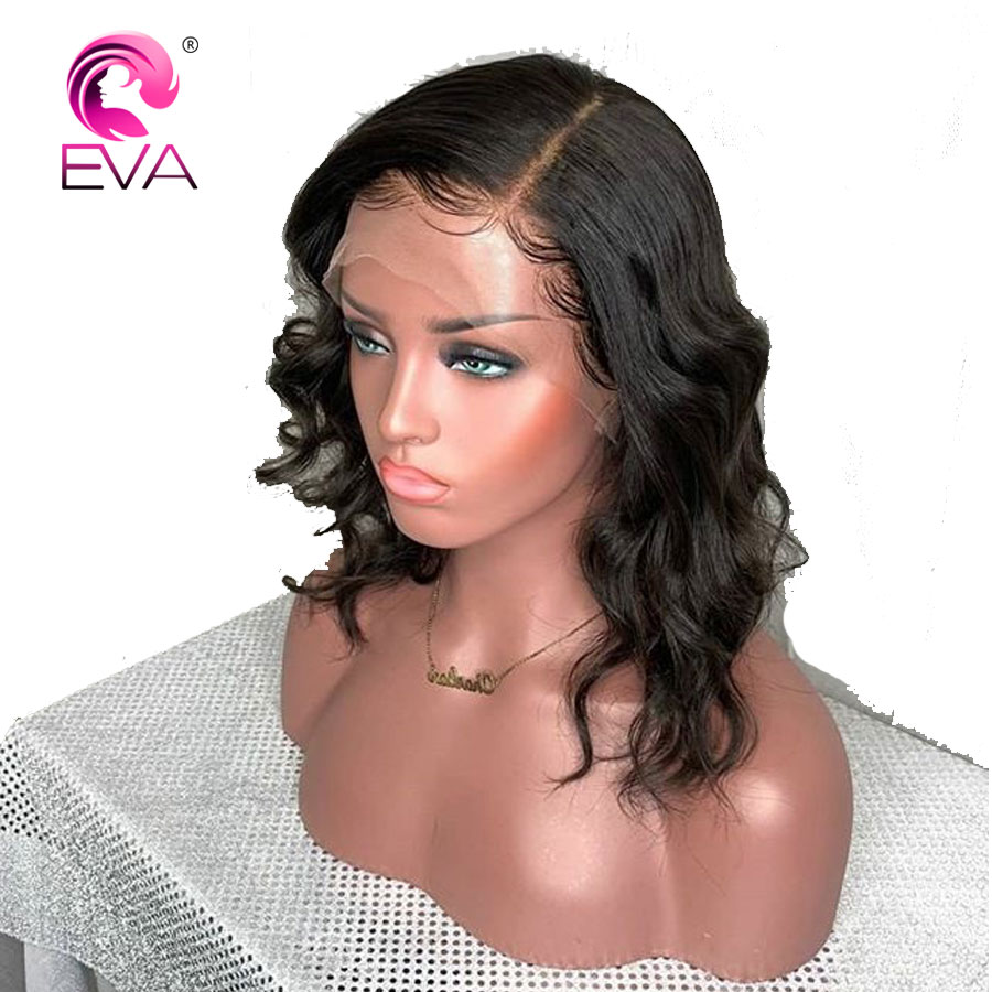 Short Lace Front Human Hair Wigs Pre Plucked Hairline With Baby Hair Glueless Wavy Lace Front