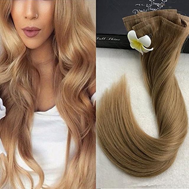 Brilho completa 14 a 24 Fita Grampo no cabelo Remy Reta extensões 8 Pcs 100 g/Set Cor Perfeita #14 Brasil 100 cabello humano real
