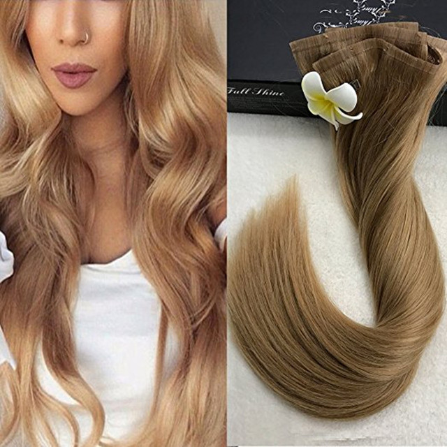 Full Shine 14 to 24 Tape Clip in Straight Remy hair Extensions 8Pcs 100g/Set Perfect Color #14 Brasil 100 cabello humano real