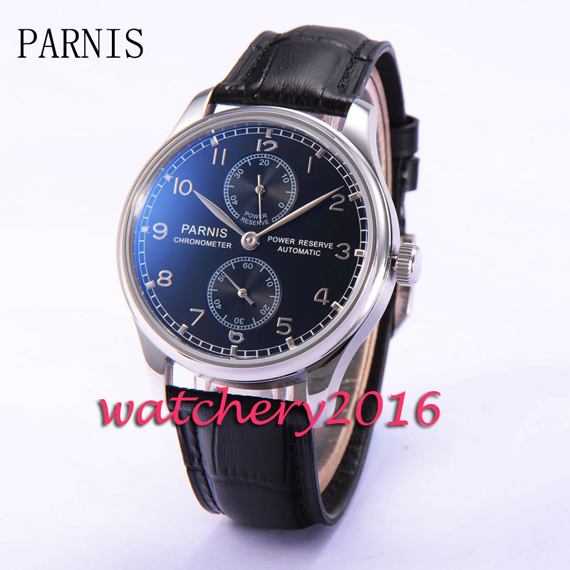 43mm Parnis Black Dial Silver Number Leather steinless steel Case Power Reserve Automatic Movement Men's Mechanical Wristwatches 43mm parnis black dial silver number leather steinless steel case power reserve automatic movement men s mechanical wristwatches