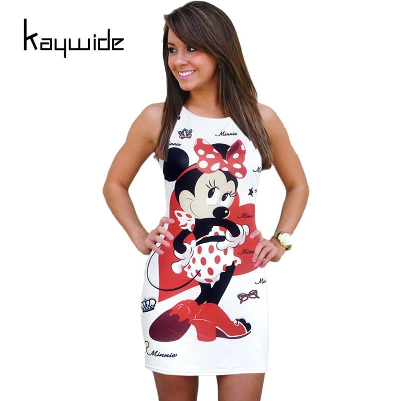 Kaywide bata mickey summer dress 2017 imprimir bodycon casual vestidos de las mu