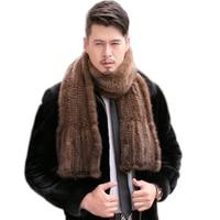 2019 Modern men Mink Fur Shawl Good Gift Real Fur Scarf Genuine Mink Scarf Hand Knitted Mink Scarf Winter Fur 15% discount