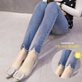 Coreano moda Jeans Maternidade calças abdominais calças na primavera e no outono de maternidade calças grávidas calças mostrar finas cerdas