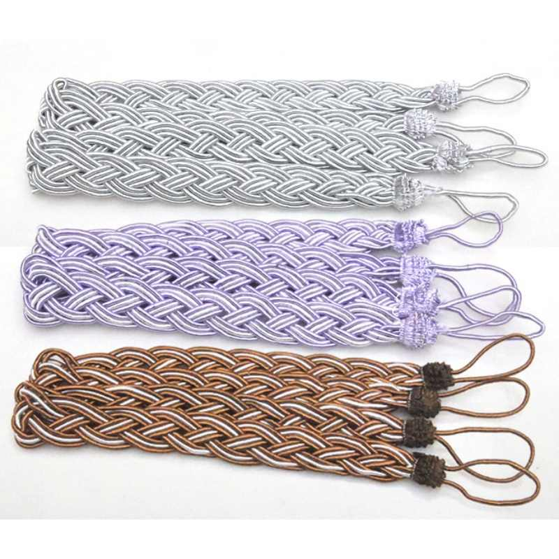 2 Pcs/Pair Window Rome Curtain Cord Rope Buckle Tiebacks Braided Tie Back 7 Colors