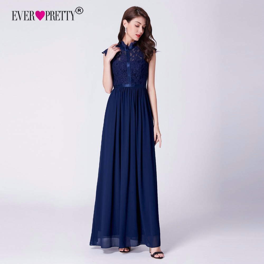 Detail Feedback Questions about Navy Blue Evening Dress 2018 Ever Pretty  New Arrival High Neck Sleeveless Lace Bodice Prom Gowns for Women Vestido  Longos on ... ab3ff500e7e2