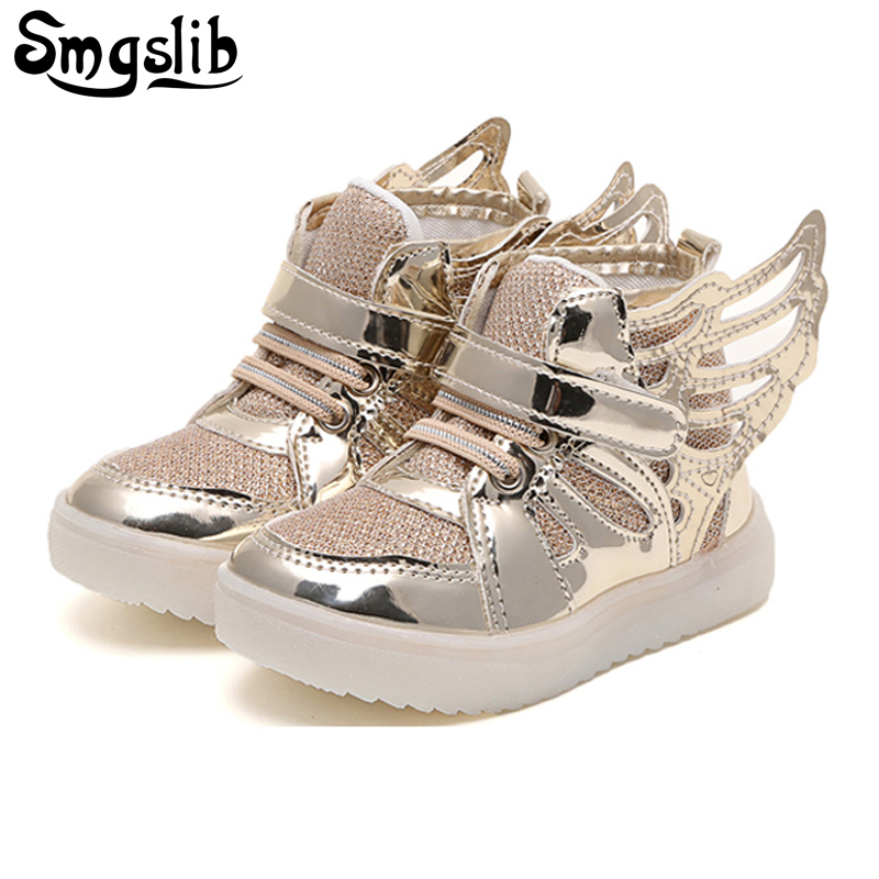 SMGSLIB Children shoes with light New led shoes for kids Lighted Boy Girl LED Flashing Shoes Kids Fashion Wings Shining Sneakers
