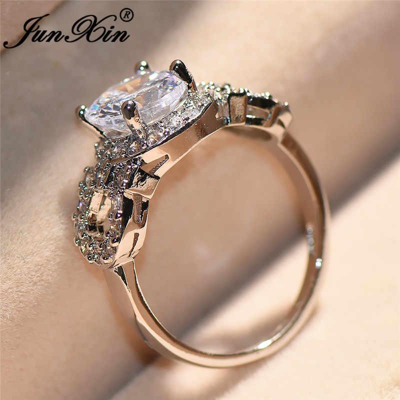 JUNXIN 90 скидка! Блестящий Белый циркон обручальные кольца для женщин Серебряный цвет золото круглый Австрийский Кристалл кольцо женский свадебный CZ