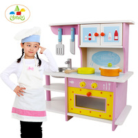Children simulation wooden pink kitchen toy set stove toy cooking toy pretend play toys 3Y+