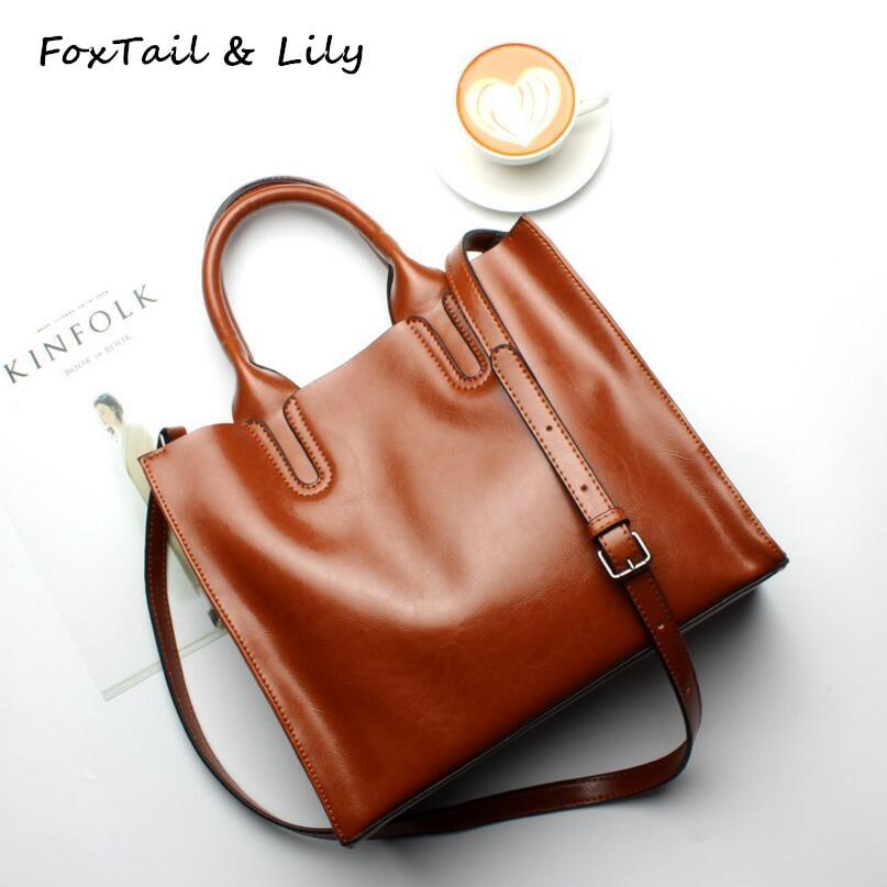 FoxTail & Lily Elegant Ladies Handbags Crossbody Bags for Women Genuine Leather Tote Shoulder Bags Cowhide Luxury Designer Brand