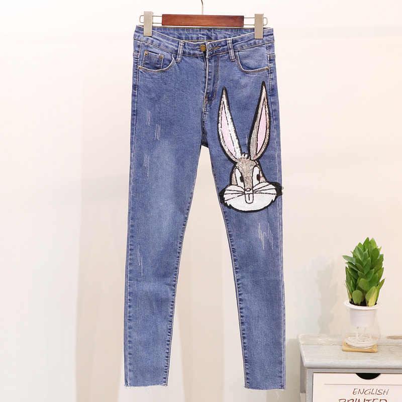 2019 осенний комплект из 2 предметов, женские джинсы с блестками и рисунком, Женский вязаный свитер с длинными рукавами, топы + узкие джинсовые штаны с кроликом, комплекты из двух предметов