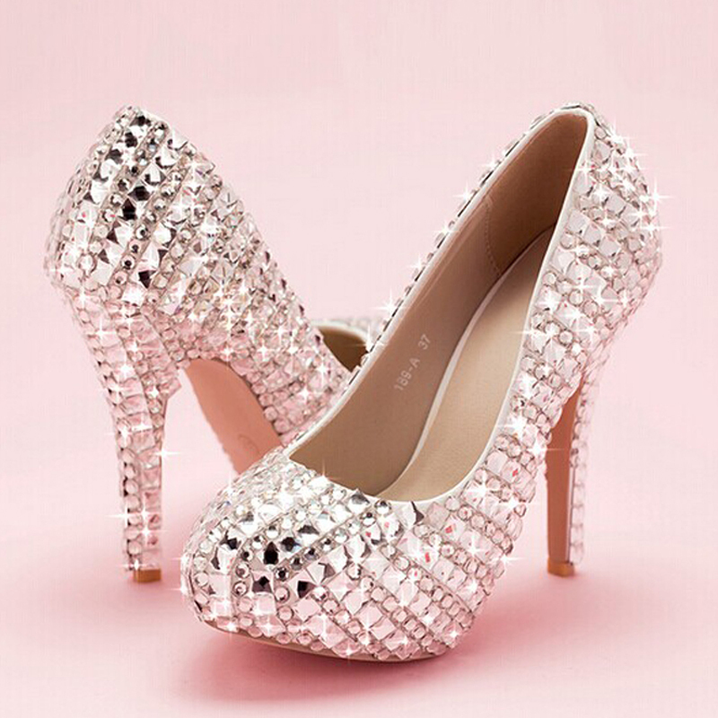 Lovely Crystal Beaded lady's Formal Shoes Round Toe Women's High Heels Beaded Bridal Evening Prom Party Wedding Bridesmaid Shoes