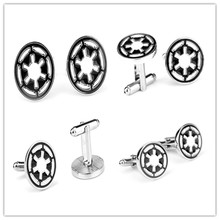 1Pcs Classic move Star Wars Galactic Empire Logo Enamel Brand Cuff Buttons For Shirt Wedding party Wholesale Cuff Links