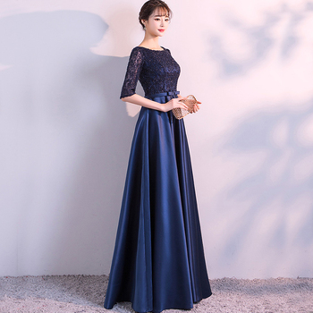DongCMY New 2019 Long Formal Evening Dresses Elegant Lace Satin Navy Blue Vestidos Women Party Gown 3