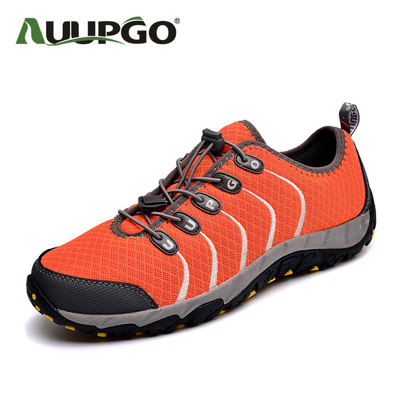 AUUPGO Men hiking shoes women outdoor shoes breathable summer sport shoes men sneakers super light A744 free shipping candy color women garden shoes breathable women beach shoes hsa21