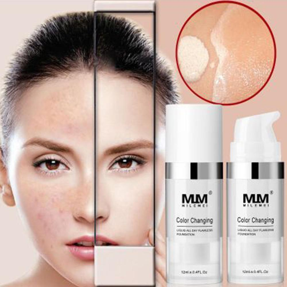 Color Changing Foundation Cream Natural Self-adjusts Full Coverage Base Makeup Nude Professional Concealing image