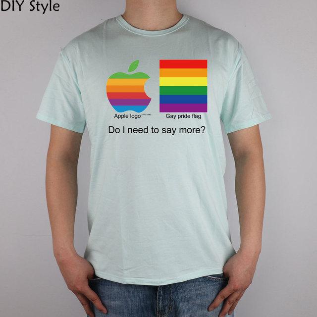 APPLE GAY PRIDE top lycra cotton short-sleeved T-shirt 3340 Fashion Brand t shirt men new high quality 1