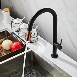 Image 5 - LANGYO Black White Kitchen Faucet 360Ronating Blackend Sink Tap Cold and Hot Kitchen Mixer Tap Blackened Pull Out Kitchen Mixer