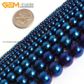 Blue Metallic Coated Hematite Beads For Jewelry Making 2-12mm 15inches DIY Jewellery FreeShipping Wholesale Gem-inside