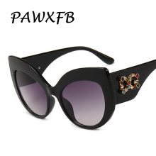 PAWXFB 2019 Newest Ladies Cat Eye Sunglasses Women Luxury Brand Designer Italy Oversized Sun Glasses Female Vintage Shades