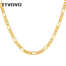 TTVOVO Men Chain Necklace for Pendant Gold Tone 5MM-6MM Width Cuban Curb Miami Snake Figaro Link Chain Punk Rock Hip Hop Jewelry new men s hip hop necklace gold stainless steel curb cuban link chain cross pendant necklace for men jewelry 11mm 24inch dn05