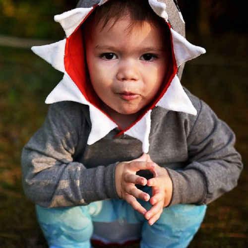 Демисезонный Стиль повседневные толстовки серый Дети мальчиков 3D Акула с капюшоном топы карман куртка пальто с длинными рукавами верхняя одежда От 1 до 6 лет