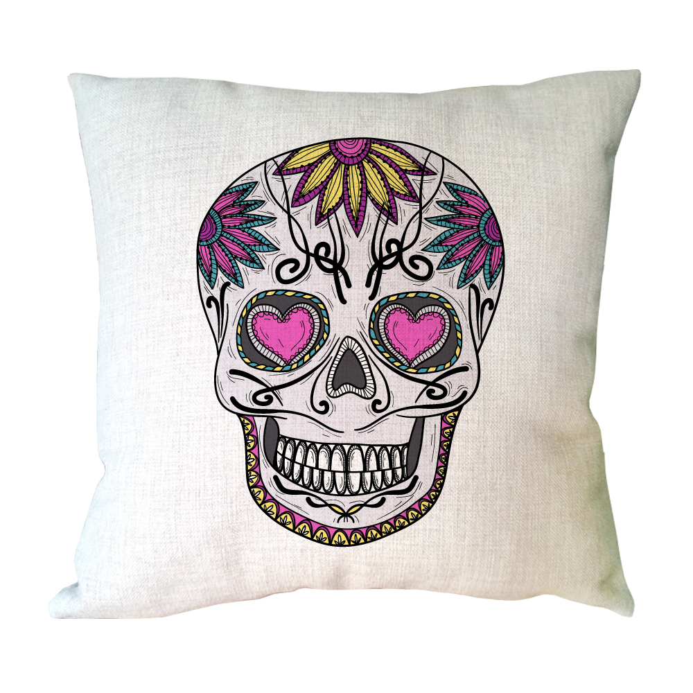Funny Skull Print Custom Accent Linen Throw Pillows Decorative Cushion Covers For Sofa Pillow Case Home Coussin Funda Cojines