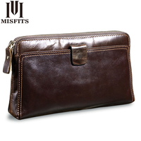 MISFITS Men Clutch Bags Genuine Leather Man S Zipper Organizer Wallet High Capacity Long Purse Male