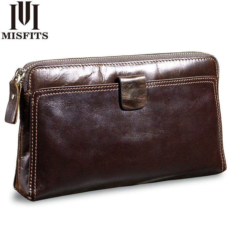 MISFITS Men Clutch Bags Genuine Leather Man's Zipper Organizer Wallet High Capacity Long Purse Male Multi Function Phone Wallet