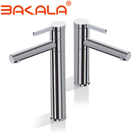 360 Rotation Tall Basin Faucets Solid Brass Chrome Modern Bathroom Sink Faucet Single Handle Washbasin Hot Cold Mixer Water Tap