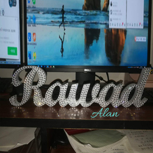 Custom Name Crystal Diamond Wedding Sign and Stable Wooden Word