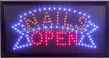 CHENXI hot sale 10x19 Inch Semi outdoor Nails Beauty Salon Shop signs Led Ultra Bright flashing business signs