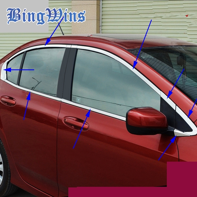Car Styling Stainless Steel Window Trim Stick For Honda City 2009 2017 Windows Frame