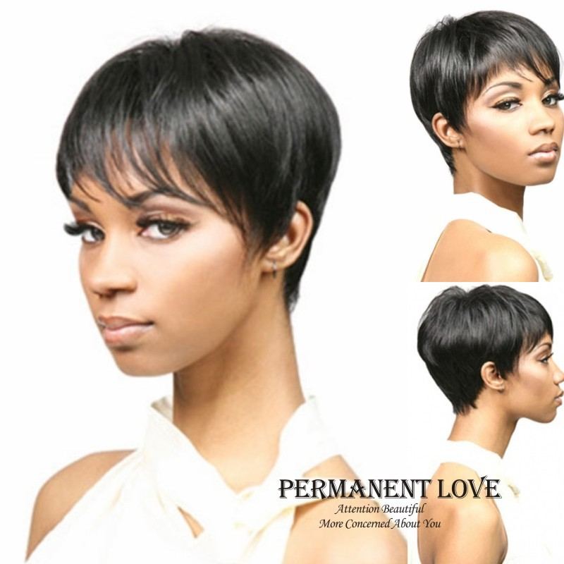 Synthetic Short Wig With Bangs For Black Women Pixie Cut Heat