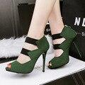 Женщины насос stilettos strappy высокие каблуки sandalias mujer сексуальные красные насосы лодыжки ремень каблуки зеленые туфли дамы сандалии на каблуках X420