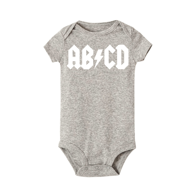 ABCD ACDC Funny Rock Baby Newborn Bodysuit Boy Girl Clothes Jumpsuit First Birthday Outfit