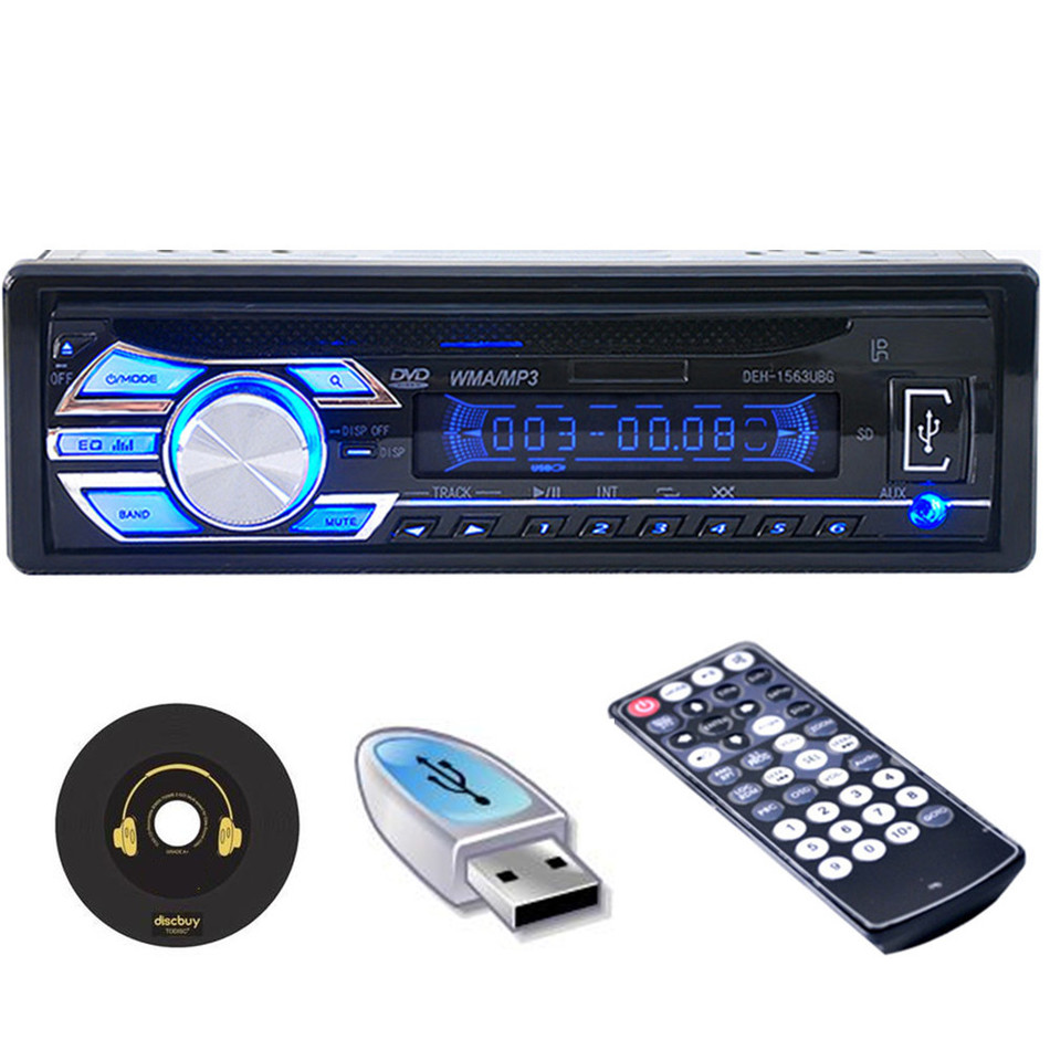1Din Car Radio Player Car MP3 CD DVD Player Stereo Auto Audio In-Dash SD FM USB Aux Receiver Auto Radio With Remote control auto radio car radio 12v bluetooth v2 0 sd usb mp3 wma car audio stereo in dash 1 din fm aux input receiver