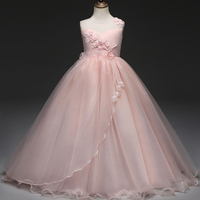 Layered Girl Dress Long Dress Flower Dress For Wedding Gown Solid Pink White Graduation Gown Dress