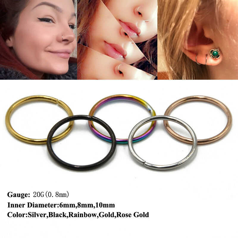 1PC Fashion Steel Seamless Hinged Nose Hoop Ring Septum Clicker Ear Cartilage Tragus Helix Piercing Charming Body Jewelry