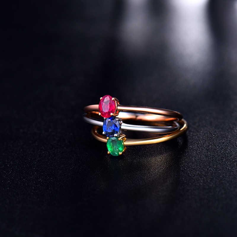 ธรรมชาติสีเขียวมรกตสีแดง Ruby Blue Sapphire แหวนดีอัญมณี 18 K สีขาวทองงานแต่งงานเครื่องประดับออกแบบลูกสาววันเกิดของขวัญ