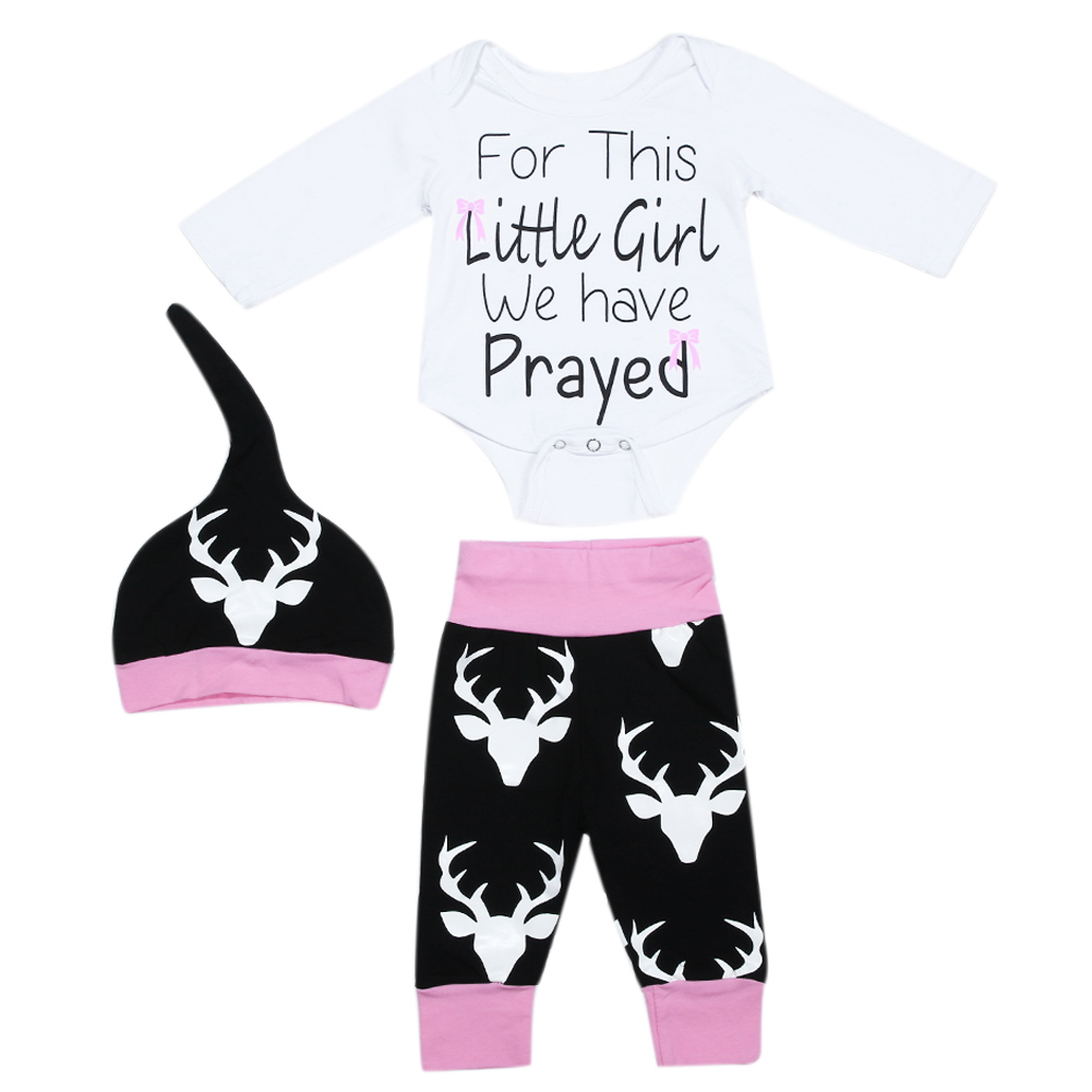 Newest Newborn Baby Girl Deer Printed Clothing Set 3pcs Romper+Hat+Pants  Infant Baby Girls Clothes Baby Set Rompers Clothes 2775ef260ee8