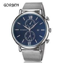 Relojes hombre 2016 Mens Relojes de Acero llena de Moda de Lujo Visten Los Relojes de Cuarzo Para Hombre Fecha Dial Redondo relogio masculino