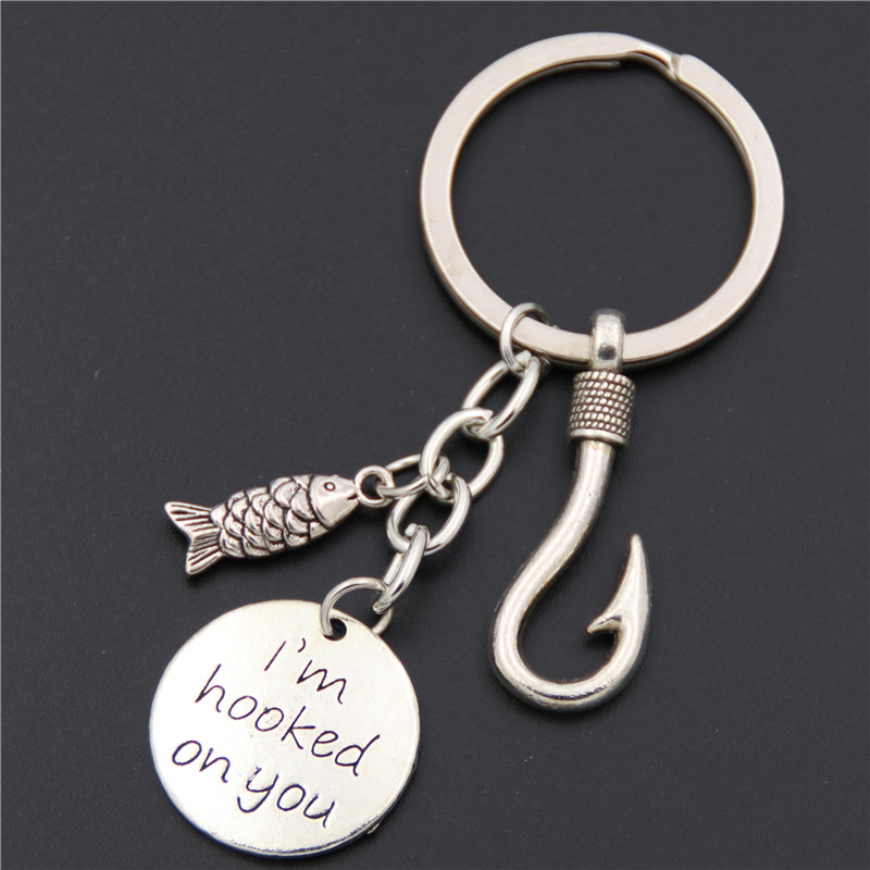 1pc Fish Hook Fishing Keychain Keyring Stamped I'm Hooked On You Fishing Gift Fish Hook Jewelry Father's Day Gift image