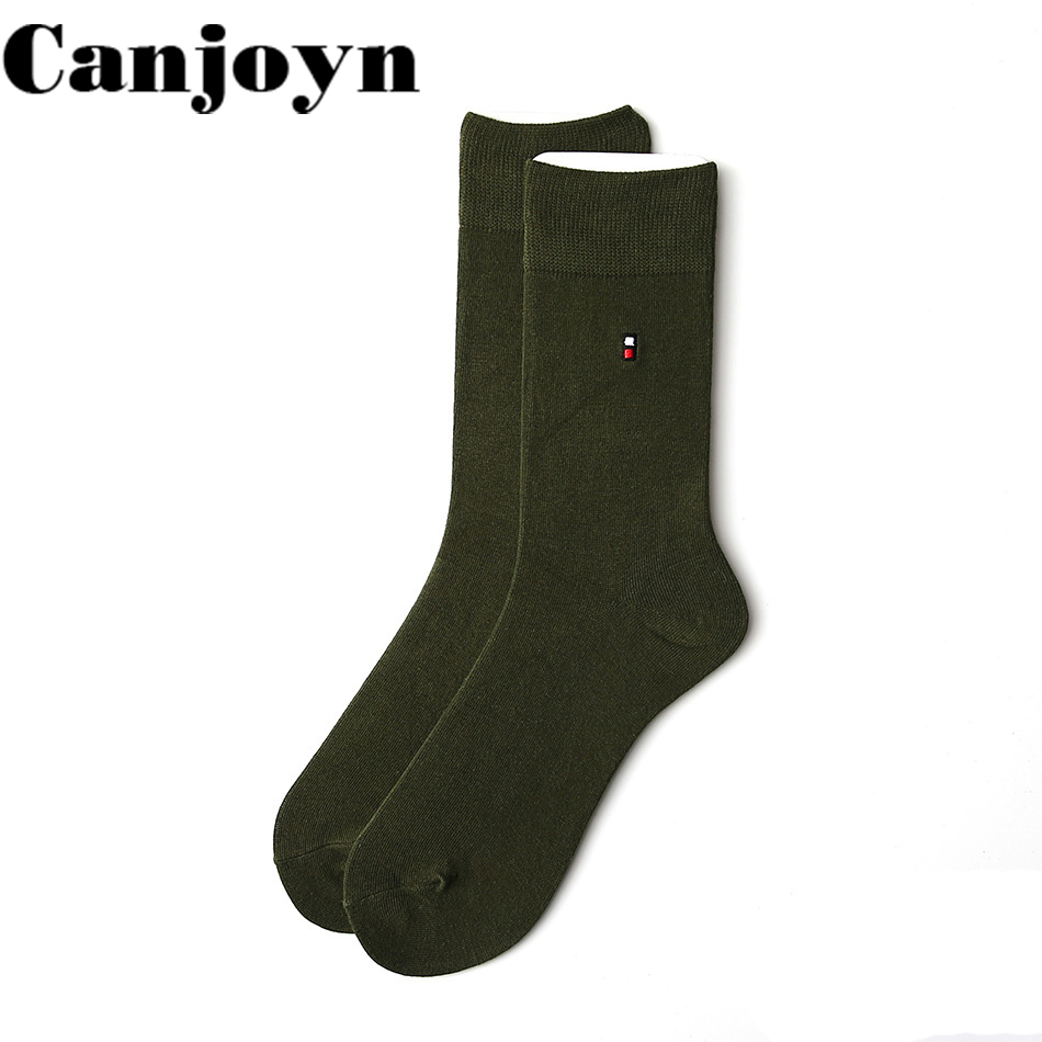 Canjoyn High quality 5Pairs Vintage green Crew Happy Sock lovers socks men Women Cotton Socks Wholesale