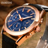 OUKESHI Calendar Waterproof Quartz Business Men Watch 2017 Brand Luxury Fashion Leather Wristwatch Casual Sport Watches