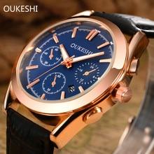 OUKESHI Calendrier Étanche Quartz Hommes D'affaires Montre 2017 Marque De Luxe De Mode Montre-Bracelet En Cuir Casual Sport Montres Horloge