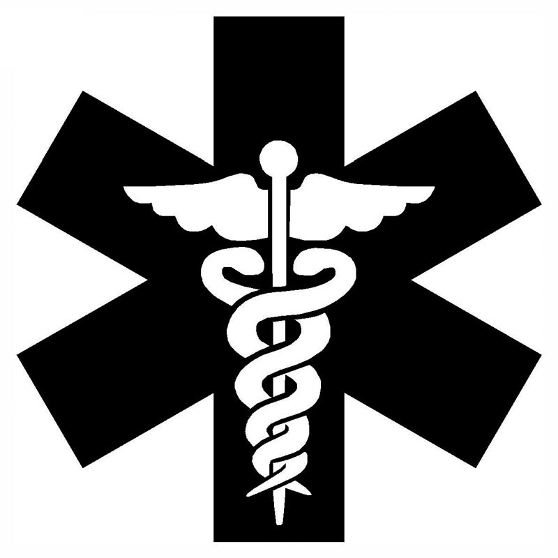 9.5*9.5CM Medical Symbol Car Sticker Decals Motorcycle Decals Waterproof Car Styling Car Accessories Black Silver C2-0473