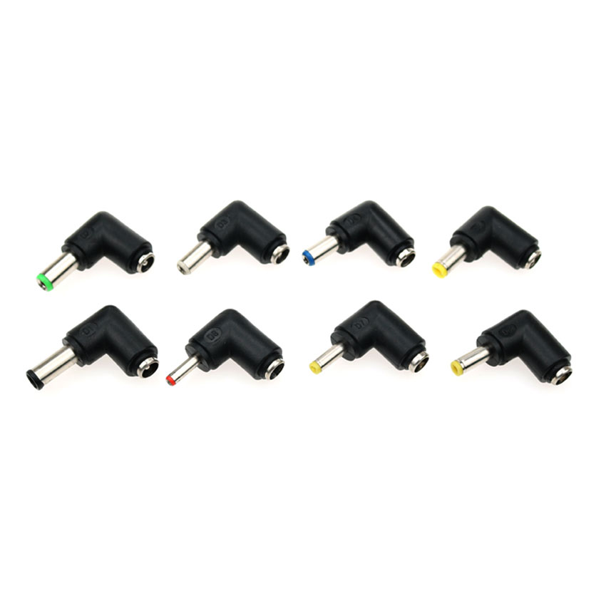 Image 2 - cltgxdd 90 Degree Angled 8 In 1 Universal DC 5.5x2.1mm Female To 5.5*2.5 4.8/4.0*1.7mm DC Male Plugs Power Connector For Laptop-in Computer Cables & Connectors from Computer & Office