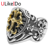 100% Pure 925 стерлингового серебра крест кольца моды властная панк щит, меч Мужской Перстень Специальные бесплатная доставка