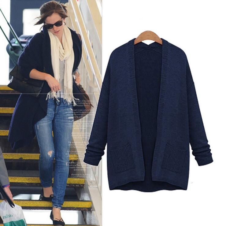 Women Cardigans Oversized Sweater 2017 Autumn Winter Navy V Neck ...