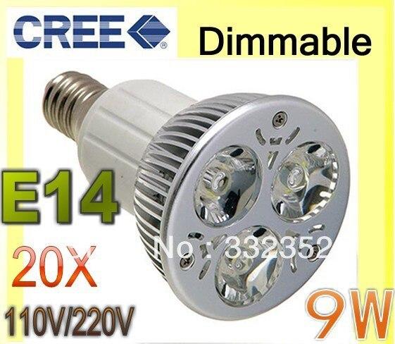 Free shipping 20pcs/Lot Dimmable 9W 3x3W E14  85-265V Focus Ceiling Bulb Down Spot Light LED Lamp